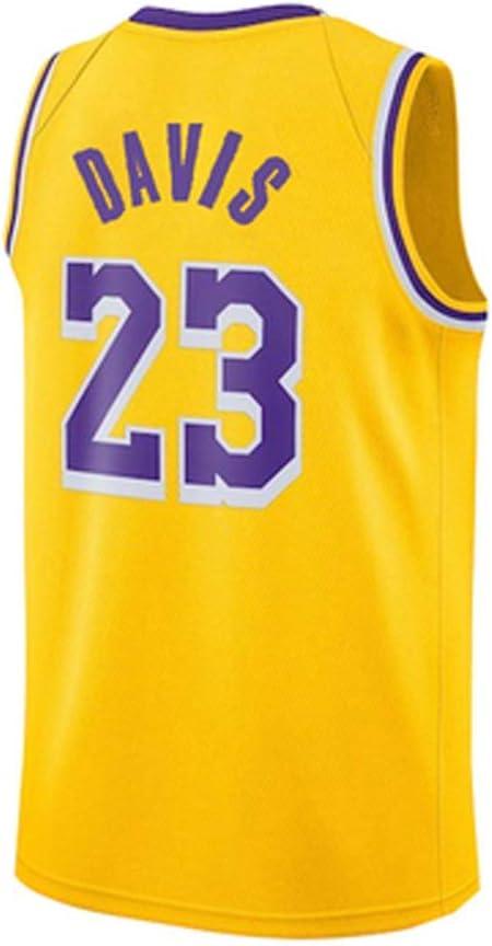 QIXUN Maillot de Basketball pour Hommes # 23 Basketball Professionnel de la Nouvelle Saison des Lakers de Los Angeles /Équipe sous Licence Officielle Maillot de Basket-Ball Anthony Davis