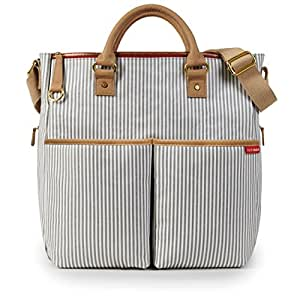 Skip Hop Messenger Diaper Bag With Matching Changing Pad, Duo Signature, French Stripe