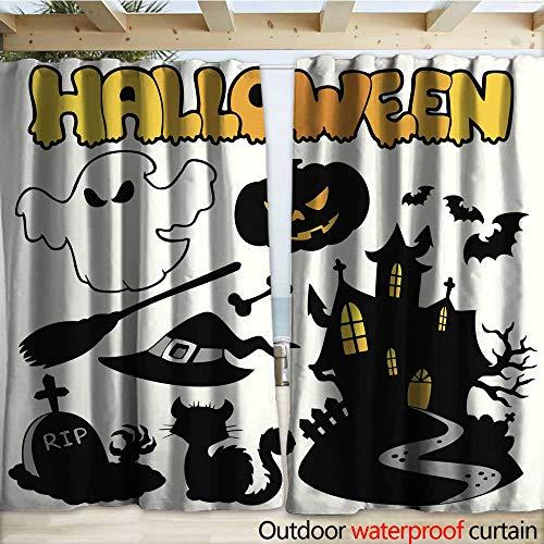 warmfamily Blackout Curtain Set of Halloween Silhouettes Drapery W120 x L108 ()
