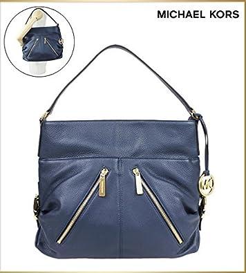 Michael Kors Portland Large Leather TZ Shoulder Bag (Navy): Handbags: Amazon .com