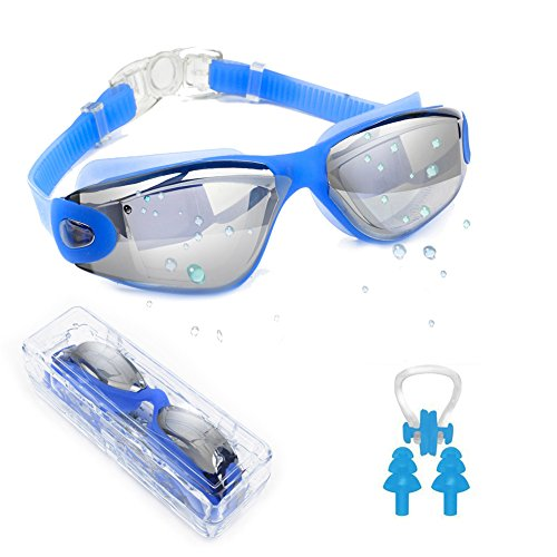 Waterproof Swim Goggle, Wide View Swimming Goggles Anti Fog UV Protection Triathlon Swim Goggles for Adult Men Women Youth, Summer Swim Glasses Set with Nose Clip Ear Plugs and Free - Clear Lens View