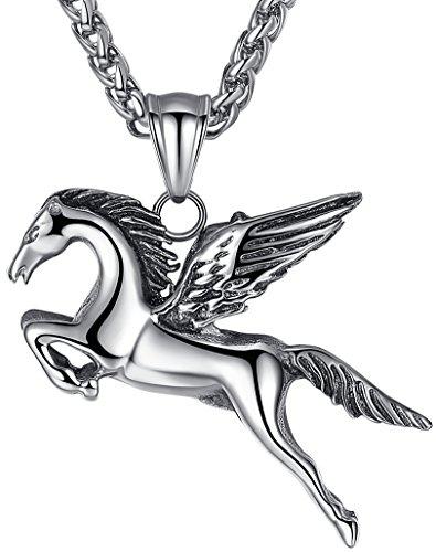 Necklace Pegasus - Men's Stainless Steel Pegasus Wing Horse Pendant Necklace, Unisex, 24