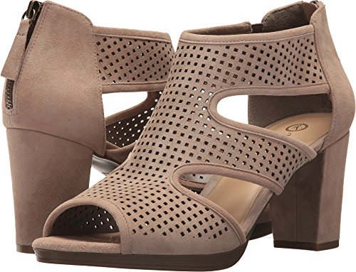 Bella Vita Women's Leslie Heeled Sandal, Almond Kid Suede, 7.5 W US