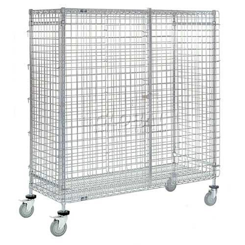 Wire Security Storage Truck with Brakes, 60 x 24 x 69, 1200 Lb. - Truck Storage Security Wire