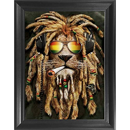 Rasta Pot Head Lion 3D Poster Wall Art Decor Framed Print | 14.5x18.5 | Lenticular Posters & Pictures | Memorabilia Gifts for Guys & Girls Bedroom | Hippie Trippy Marijuana & Weed Psychedelic Picture]()