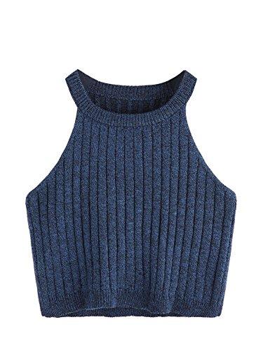SweatyRocks Women's Knit Crop Top Ribbed Sleeveless Halter Neck Vest Tank Top (Medium, Navy)