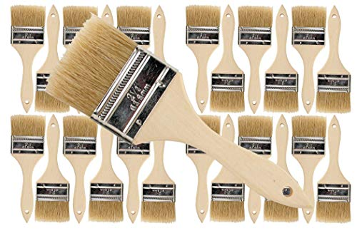 24 Pack of Single X Thick Paint and Chip Paint Brushes for Paint, Stains, Varnishes, Glues, Acrylics and Gesso. (2-1/2)