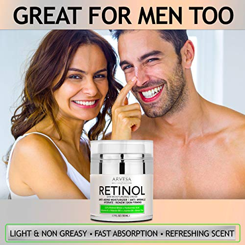 51EMIkQfsnL - NEW 2020 Retinol Moisturizer Cream for Face and Eye Area - Made in USA - with Hyaluronic Acid - Active Retinol 2.5% - Anti Aging Face Cream to Reduce Wrinkles & Fine Lines - Best Day and Night