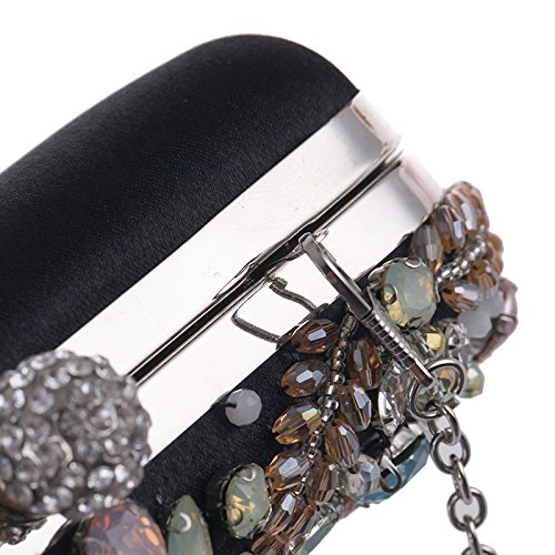 Beaded Wedding Handbag Party Dress Women Shoulder Orfila Clutch Evening Black Xq8xv7