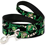 "Buckle-Down Pet Leash - Green Arrow Action Poses/Targets Black/Greens - 4 Feet Long - 1/2"" Wide"