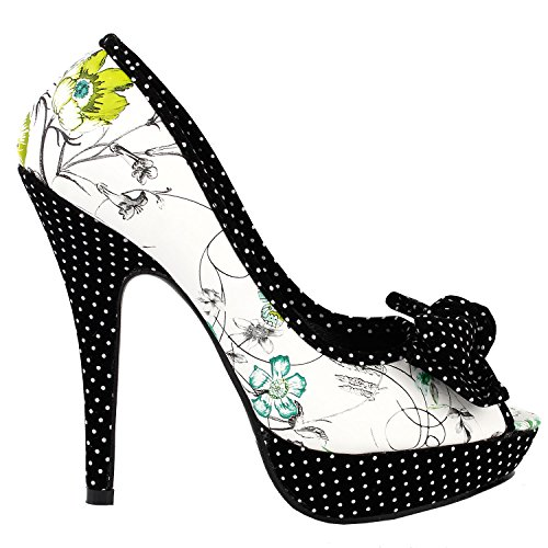 Polka Dot Platform Pump Shoes (Show Story Green Peeptoe Floral Print Black White Polka Dot Pumps,LF30476GR37,6US,Green)