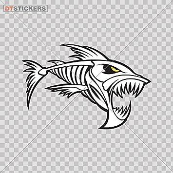 Fishing Bones Skull Skeleton Fish Looking Right AA Decal Sticker