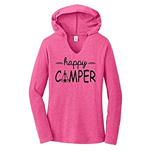 Comical Shirt Ladies Happy Camper Cute Hiking Camping Trip Graphic Fuchsia Frost M