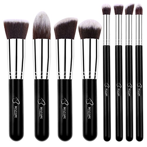 BESTOPE Makeup Brushes 8 Pieces Makeup Brush Set Professional Face Eyeliner Blush Contour Foundation Cosmetic Brushes for Powder Liquid (Angled Contour Brush)