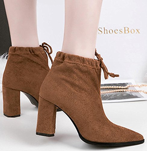 Easemax Women's Sweet Pull On Pointed Toe Faux Suede Chunky High Heeled Ankle High Booties Brown rnejVd
