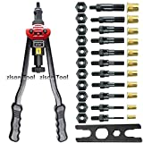 17″Hand Riveter Rivet Gun Professional Installation kit Including 11 Interchangeable Mandrel(M3 M4 M5 M6 M8 M10 M12 SAE 10-24, 1/4-20, 5/16-18, 3/8-16 )And 110 PCS Rivets Nuts