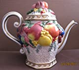 Fitz and Floyd Classics Handcrafted China TEAPOT - Decorative Teapot & Lid w Fruit Design