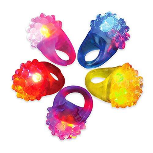 Novelty Place Party Stars Flashing LED Bumpy Jelly Ring Light-Up Toys (24 Pack)]()