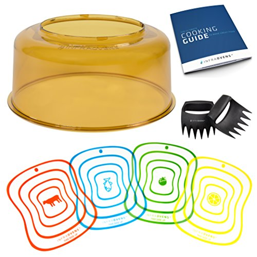 NuWave Oven Pro Plus & Elite Power Dome Replacement Cover - Unbreakable Shutter Resistant Amber PEI Plastic Accessory Part - Convection Yellow Top Lid Bundles with Cutting Mats and More Accessories