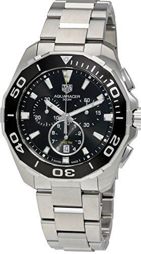 Dial Aquaracer Chronograph Watch - TAG Heuer Men's Aquaracer 43mm Steel Bracelet & Case Quartz Black Dial Analog Watch CAY111A.BA0927