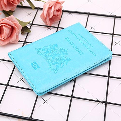 Clair cartes Pays En passeports Bleu Et Simplelife Porte Organisateur Protecteur Porte bas cartes Porte Blocage Cuir Rfid Dédié De Voyage Pvc Étui Uq1Ezq