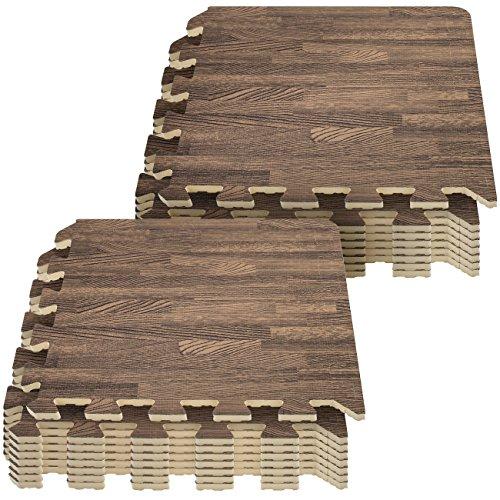 Sorbus Interlocking Floor Mat – Wood Print Multipurpose Foam Tile Flooring – Home, Office, Playroom (16 Tiles,16 Sq ft, Dark)