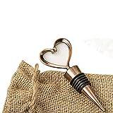 Heart Shaped Metal Wine Bottle Stopper in a Burlap Bag (50)
