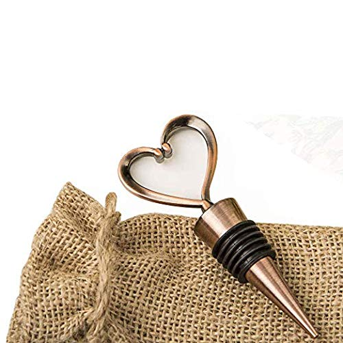 Heart Shaped Metal Wine Bottle Stopper in a Burlap Bag (25) by FASHIONCRAFT