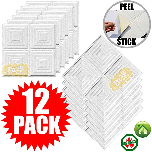 Eazy How To 12 Pack Ceiling Tiles 12 x12 Pyramid Style Peel and Stick Easy Installation Textured Panels – White