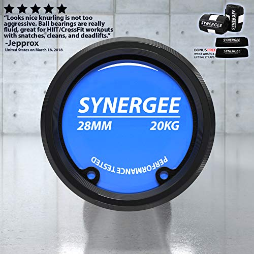 Synergee Regional Olympic 20kg Men's and 15kg Women's Hard Chrome & Black Phosphate Barbells. Rated 1500lbs for Weightlifting, Powerlifting and Crossfit