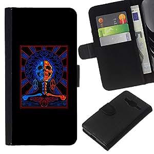 KLONGSHOP // Tirón de la caja Cartera de cuero con ranuras para tarjetas - Muerte Azul Red Rock Roll Music motorista - Samsung Galaxy Core Prime //