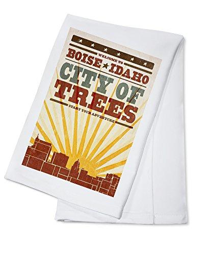 Boise, Idaho - Skyline and Sunburst Screenprint Style (100% Cotton Kitchen Towel)