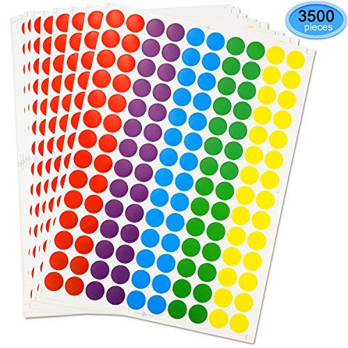 Round Stickers, EAONE Color-Code Dot Labels Neon Stickers Removable for Write/Print, 3/4 Inch Diameter, Pack of 3500