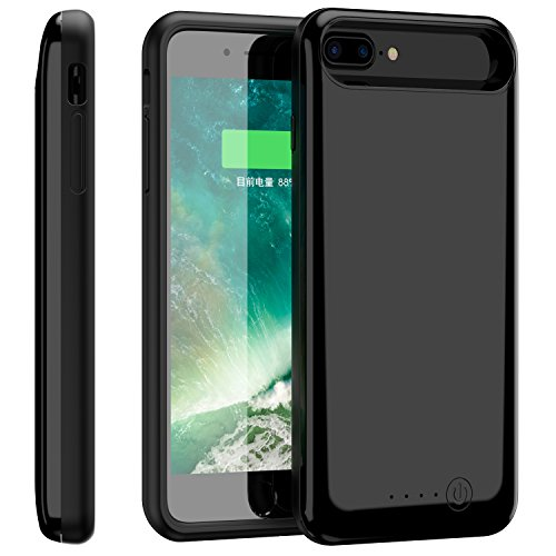 iPhone 7 Plus Battery Case, Foxin 8000mAh Extended Battery Charger Case Rechargeable Power Bank Battery Charging Case for iPhone 7 Plus/6 Plus/6S Plus(5.5 inch) (Jet Black)