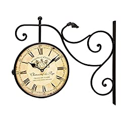 Joveco Round Double Sided Two Faces Railway Station Vintage Wall Clock with Scroll
