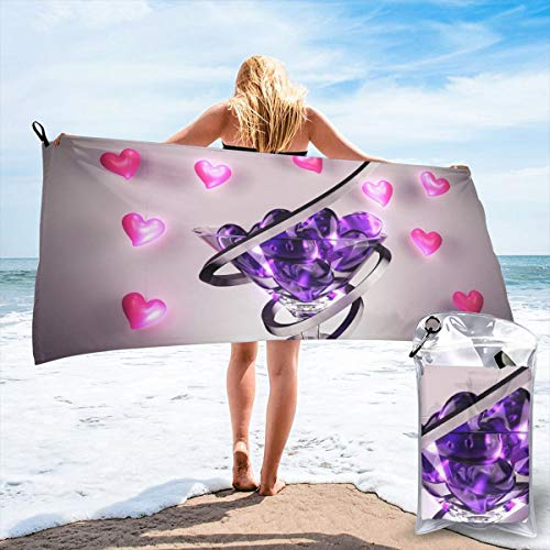 Hongao Microfiber Quick Dry Travel Towel Wine Glass Love Heart Beach Bath Towel Fast Drying Absorbent Towels for Camping, Backpacking, Gym, Sports, and Swimming, Includes Carry Bag 27.5