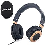 Active Noise Cancelling Headphones with Mic,Alteng J19 Stereo Earphones with Hi-Fi, 20H for music time travel and office computer-Wired, Black