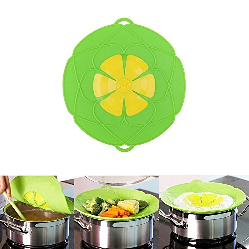 Spill Stopper Lid Cover ,Boil Over Safeguard,Silicone Spill Stopper Pot Pan Lid Multi-Function Cooking Tool ,Great Kitchen Gadgets,Great Gift for Cooking lover,Parents,Friends1Pcs(Green/ Red