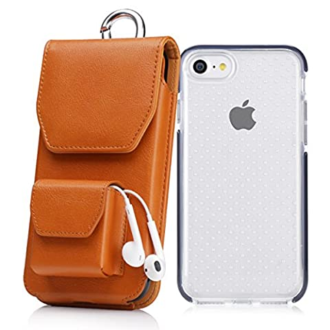 iPhone 8 Case, iPhone 7 Case, Homelove Vertical Leather Case Holster Belt Clip Pouch with Earphone Holder for iPhone 7/8/6/6S Brown (With A Shock-proof Rubber iPhone 7/8 - Brown Phone