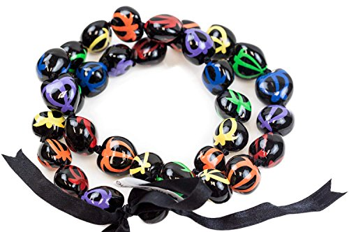 Painted Kukui Nuts - Barbra Collection Hawaiian Style Kukui Nut Lei Hand Painted Multi-Color Turtle 32 Inches