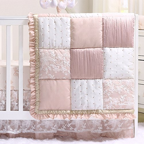 Satin Crib Bedding Set - Grace 4 Piece Baby Girl Dusty Pink Floral Layered Patchwork Crib Bedding Set