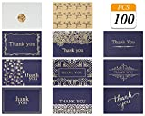 VONDERSO Thank You Cards Notes in 9 Designs Blank Inside with Envelops for Wedding, Birthday, Baby Shower, Party Favors, Business, Graduation, Greeting Cards, Funeral 4x6 inch (Navy-Blue, 100PCS)