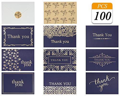 (Thank You Cards Notes Navy Blue Gold In 9 Designs Blank Inside With Envelops And Stickers For Business, Wedding, Birthday, Baby Shower, Graduation, Greeting Cards, Funeral 4x6 inch (NavyBlue,)