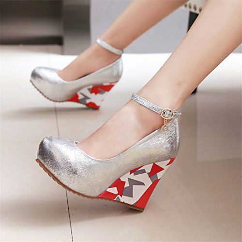 YE Damen Blumenmuster High Heels Plateau Pumps Geschlossen mit Keilabsatz und Riemchen Schnalle 10cm Absatz Schuhe Silber