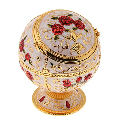 (Prettyia Zinc Alloy Jewelry Box with Lid Windproof Ashtray Vintage Flower Embossed Jewelry Box Trinket Case Jewelry Storage Home Decor - Golden Rose)