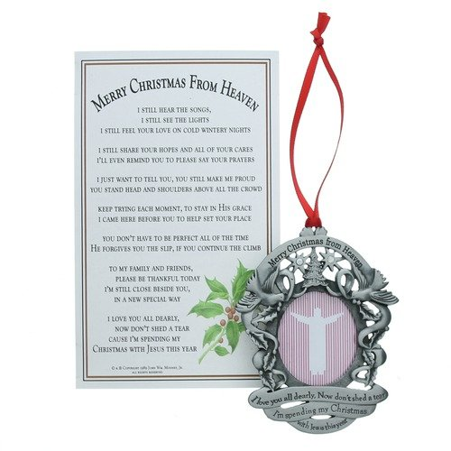 Merry Christmas from Heaven Photo Ornament - Loved Ones Tree Decoration (Non-personalized) (Missing A Loved One In Heaven Poems)
