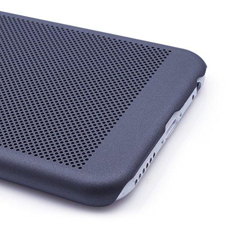iProtect Premium Schutzhülle Apple iPhone 6, 6s (4,7 Zoll) Hard Case Grid Effect mit Logoaussparung - schwarz