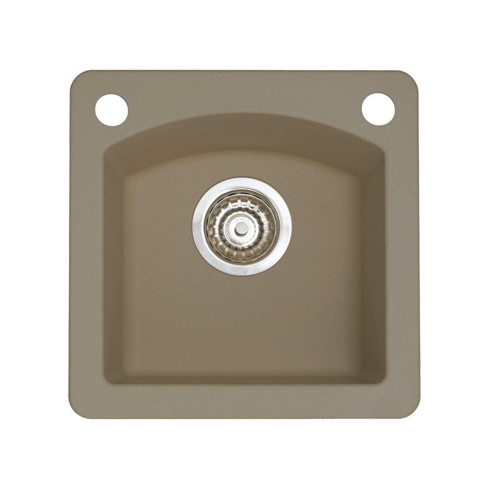 Blanco 441295-2 Diamond 2-Hole Single-Basin Drop-In or Undermount Granite Bar Sink, Truffle