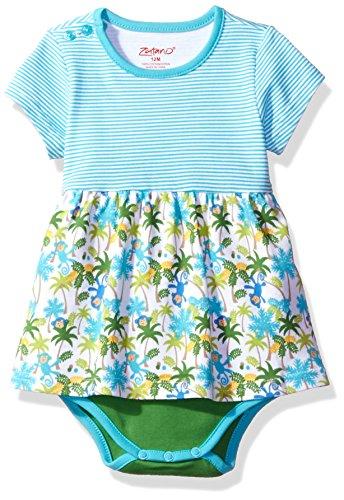 (Zutano Baby Girls' Romper Dress, Monkey Jungle, 6M (3-6 Months))