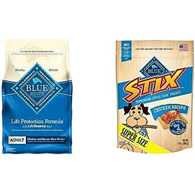 Blue Life Protection Formula Adult Dry Dog Food And Stix Pepperoni-Style Dog Teat Bundle (2 Piece)